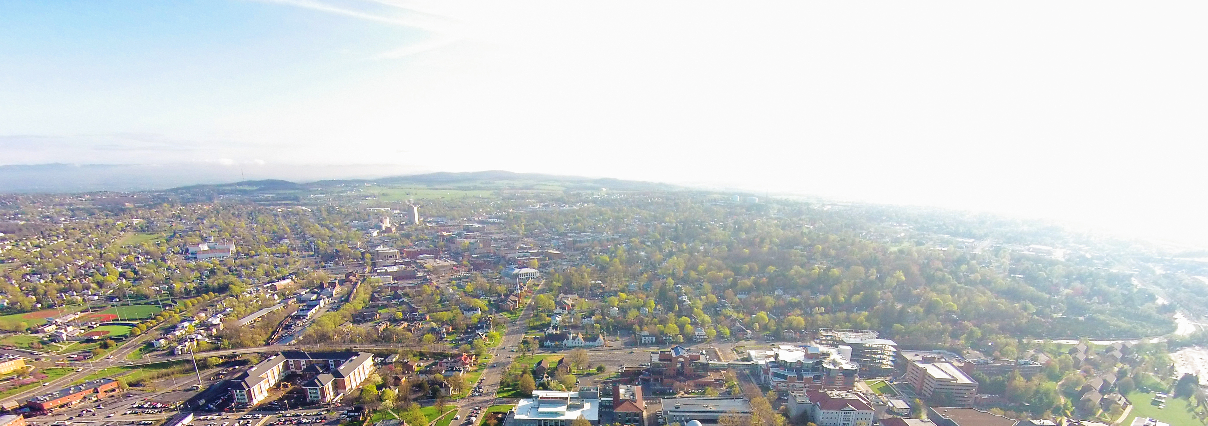 Aerial Photo Showing Downtown and Harrisonburg