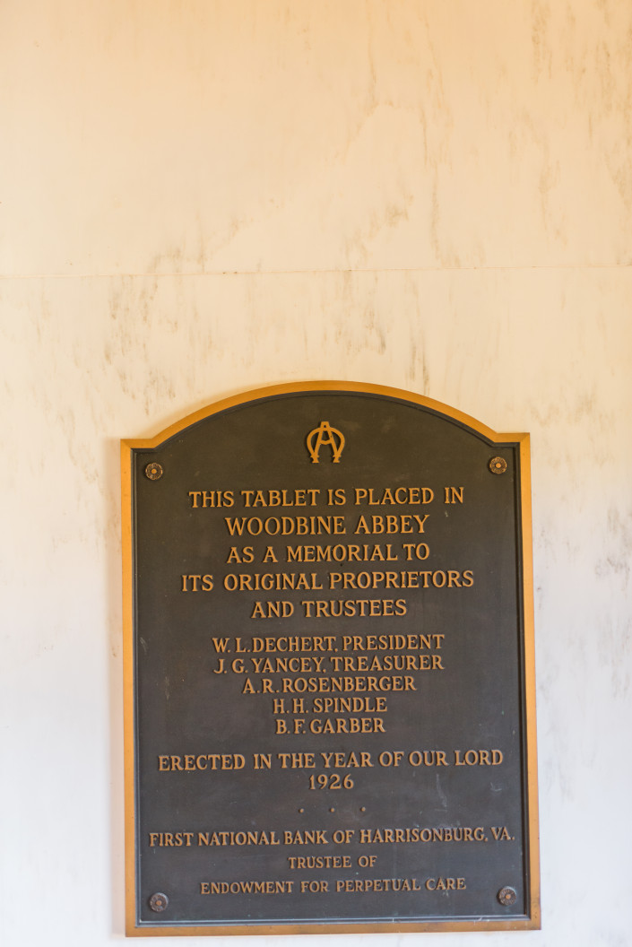 Plaque in Mausoleum